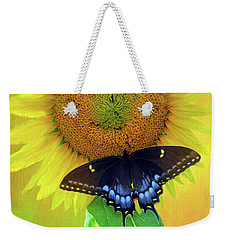Weekender Tote Bag featuring the photograph Sunflower With Company by Marion Johnson