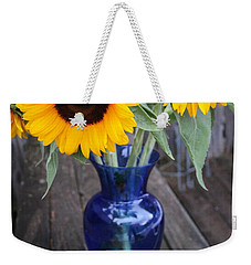 Sunflowers And Blue Vase - Still Life Weekender Tote Bag by Dora Sofia Caputo Photographic Art and Design