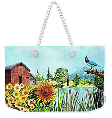 Sunflowers And Jaybird Weekender Tote Bag