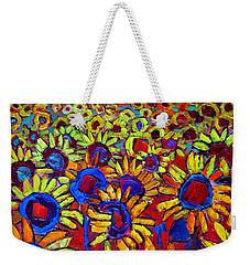 Sunflowers Field At Sunrise Weekender Tote Bag
