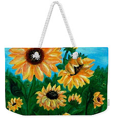 Weekender Tote Bag featuring the painting Sunflowers For Mom by Sonya Nancy Capling-Bacle