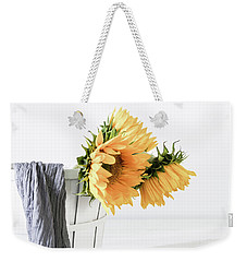 Weekender Tote Bag featuring the photograph Sunflowers In A Basket by Kim Hojnacki