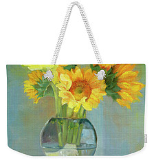 Weekender Tote Bag featuring the painting Sunflowers In A Glass Vase Number One by Marlene Book