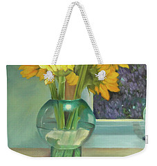 Weekender Tote Bag featuring the painting Sunflowers In A Glass Vase Number Three by Marlene Book