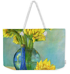 Weekender Tote Bag featuring the painting Sunflowers In A Glass Vase Number Two by Marlene Book