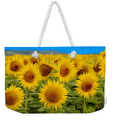 Sunflowers In The Field Weekender Tote Bag