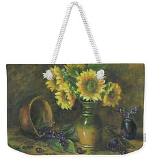 Weekender Tote Bag featuring the painting Sunflowers by Katalin Luczay