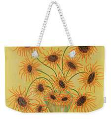 Weekender Tote Bag featuring the painting Sunflowers by Marie Schwarzer