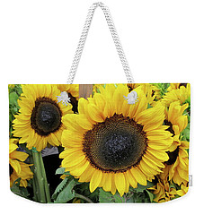 Weekender Tote Bag featuring the photograph Sunflowers by Melinda Saminski