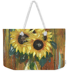 Weekender Tote Bag featuring the painting Sunflowers by Miroslaw  Chelchowski