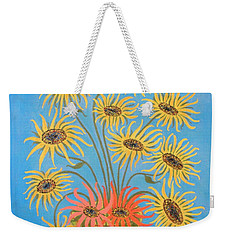 Weekender Tote Bag featuring the painting Sunflowers On Blue by Marie Schwarzer
