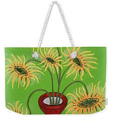 Sunflowers On Green Weekender Tote Bag by Marie Schwarzer