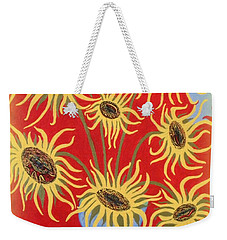 Weekender Tote Bag featuring the painting Sunflowers On Red by Marie Schwarzer