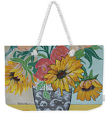 Weekender Tote Bag featuring the painting Sunflowers Three by Robin Maria Pedrero