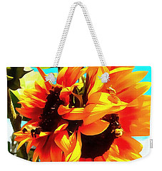 Weekender Tote Bag featuring the photograph Sunflowers - Twice As Nice by Janine Riley