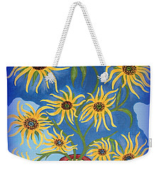 Sunflowers On Navy Blue Weekender Tote Bag