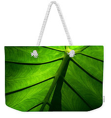Sunglow Green Leaf Weekender Tote Bag by Patricia L Davidson