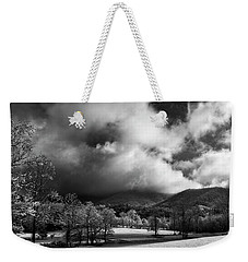 Sunlight Clouds And Snow In Black And White Weekender Tote Bag