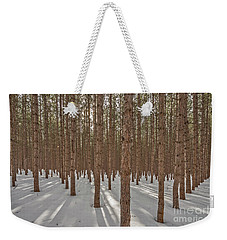 Sunlight Filtering Through A Pine Forest Weekender Tote Bag