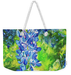 Weekender Tote Bag featuring the painting Sunlit Bluebonnet by Karen Kennedy Chatham