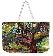 Weekender Tote Bag featuring the painting Sunlit Century Tree by Hailey E Herrera