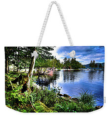 Weekender Tote Bag featuring the photograph Sunlit Shore At Covewood by David Patterson