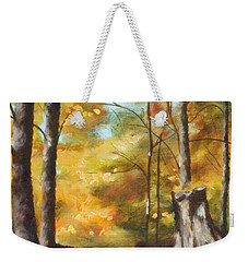 Sunlit Tree Trunk Weekender Tote Bag