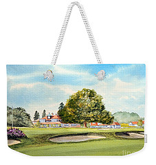 Weekender Tote Bag featuring the painting Sunningdale Golf Course 18th Green by Bill Holkham