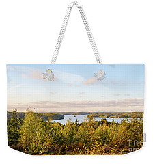 Sunny Autumn View At The Lake Hiidenvesi Weekender Tote Bag