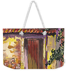 Weekender Tote Bag featuring the digital art Sunny Doorway by Darren Cannell
