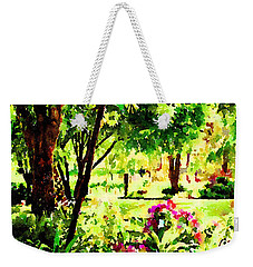 Weekender Tote Bag featuring the painting Sunny Hangout by Angela Treat Lyon