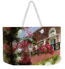Weekender Tote Bag featuring the photograph Sunny Santorini by Lois Bryan