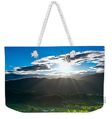 Sunrays Flood Farmland During Sunset Weekender Tote Bag