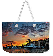 Sunrays Sunset Over Huntington Harbour Weekender Tote Bag