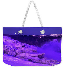 Sunrise And Moonset Over Minerva Springs Yellowstone National Park Weekender Tote Bag