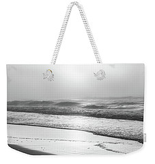 Weekender Tote Bag featuring the photograph Sunrise At Beach Black And White  by John McGraw