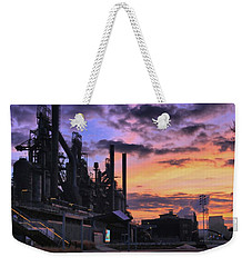 Weekender Tote Bag featuring the photograph Sunrise At Steelstacks by DJ Florek