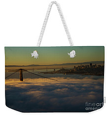 Weekender Tote Bag featuring the photograph Sunrise At The Golden Gate by David Bearden