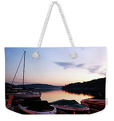 Weekender Tote Bag featuring the photograph Sunrise At The Lake by James Kirkikis
