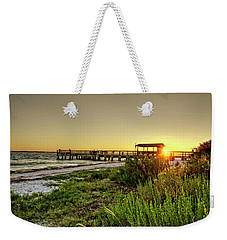 Weekender Tote Bag featuring the photograph Sunrise At The Sanibel Island Pier by Chrystal Mimbs
