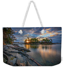 Weekender Tote Bag featuring the photograph Sunrise At Wolfe's Neck Woods by Rick Berk