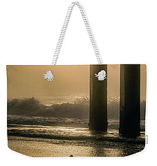 Weekender Tote Bag featuring the photograph Sunrise Bird At Beach  by John McGraw