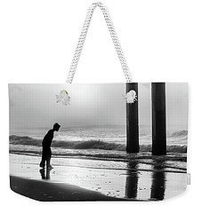 Weekender Tote Bag featuring the photograph Sunrise Boy In Foggy Beach by John McGraw