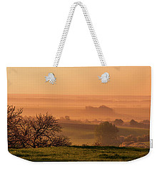 Weekender Tote Bag featuring the photograph Sunrise Foggy Valley by Jenny Rainbow