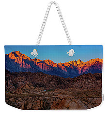 Weekender Tote Bag featuring the photograph Sunrise Illuminating The Sierra by John Hight