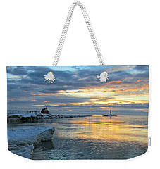 Sunrise On Ice Weekender Tote Bag by Greta Larson Photography