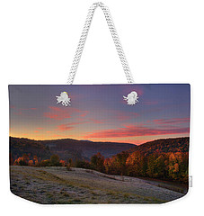 Weekender Tote Bag featuring the photograph Sunrise On Jenne Farm - Vermont Autumn by Joann Vitali