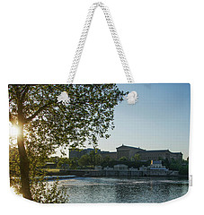 Weekender Tote Bag featuring the photograph Sunrise On The Schuylkill River - Philadelphia Art Museum by Bill Cannon