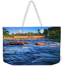 Weekender Tote Bag featuring the photograph Sunrise On Watson Mill Bridge by Doug Camara