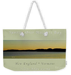 Sunrise Over Malletts Bay Greeting Card And Poster - Six V4 Weekender Tote Bag